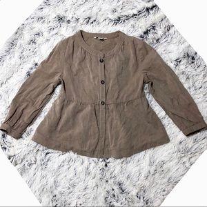 BR linen/cotton Houndstooth khaki peplum blazerXSP